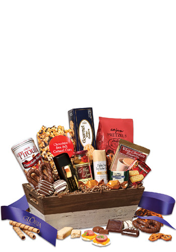 Bulk Sweet & Savory Gift Basket with Blue Ribbon