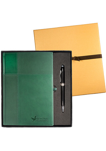 Tuscany Faux Leather Journals & Executive Stylus Pen Set | PLLG9266
