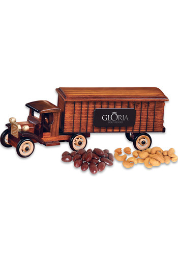 1930 Wooden Tractor-Trailer Truck with Chocolate Covered Almonds & Extra Fancy Jumbo Cashews | MRTR2120
