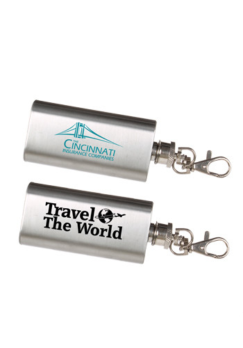 Customized 2 oz. Stainless Steel Flask-Keychains