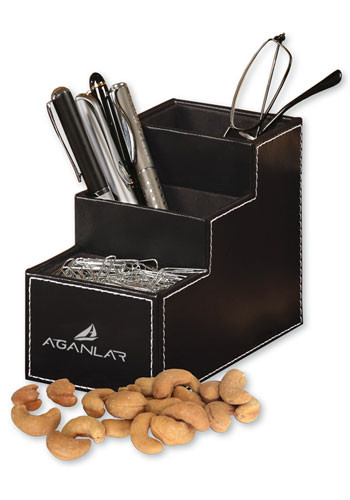 5 oz. Extra Fancy Jumbo Cashews in Faux Leather Desk Organizers | MRLD102