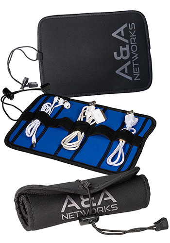 Custom Neoprene Roll-Up Tech Cases with Cord Closure