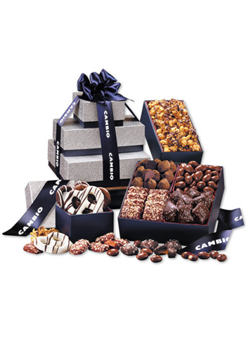 Tower of Sweets in Silver & Navy Gift Boxes | MRSN3565