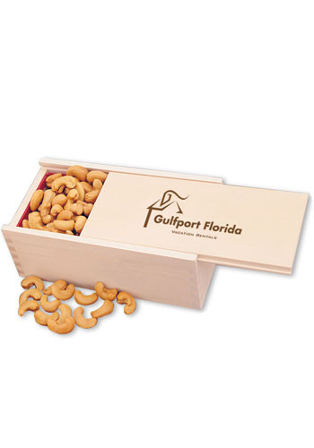12 oz. Extra Fancy Jumbo Cashews in Wooden Box  | MRK102