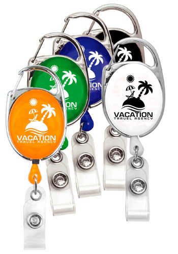 30 Inch Cord Retractable Carabiner Style Badge Reels | IVRBRCA