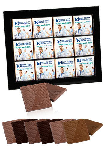 Customized 12pcs. Belgian Chocolate Squares in Gift Box