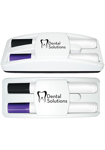 Personalized Dry Erase Gear Marker and Eraser Set with Black and Purple Markers
