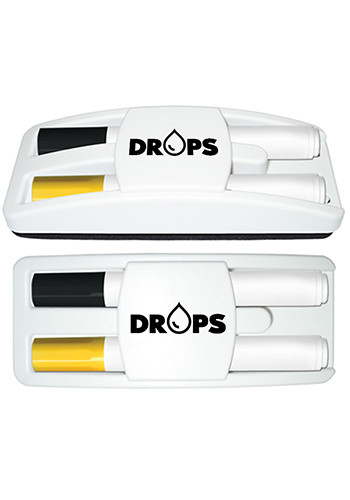 Dry Erase Gear Marker and Eraser Set with Black and Yellow Markers | LQ984118