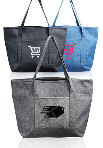 Pocket Heathered Tote Bags