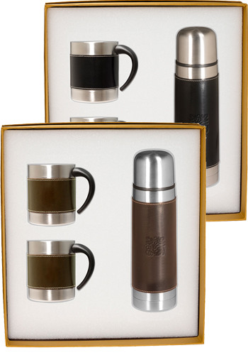 Empire™ Stainless Steel Thermos & Coffee Cups Gift Set |PLLG9269