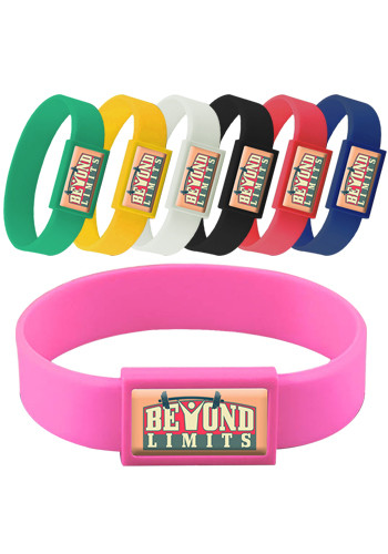 Custom Express Vibraprint Silicone Wristbands with Large Emblematic Patch