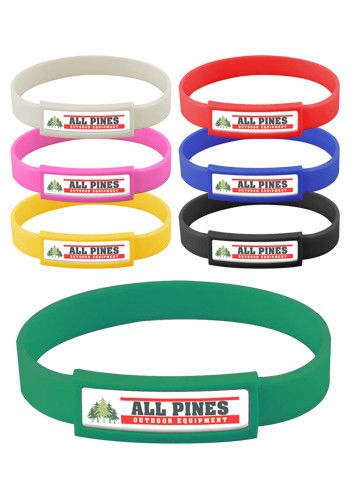 Customized Express Vibraprint Silicone Wristbands With Narrow Emblematic Patch