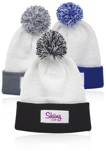 Promotional Fuji Two-Tone Patch Pompom Beanies
