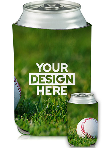 Personalized Collapsible Can Cooler Baseball Print