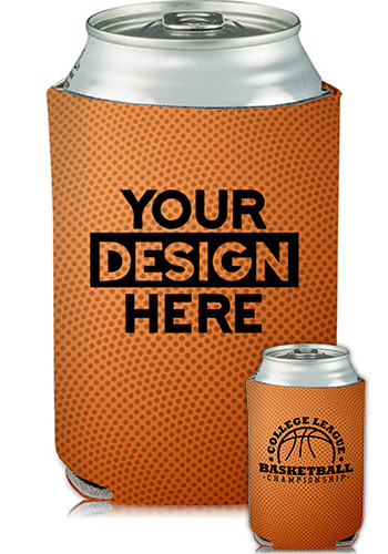 Collapsible Beer Can Cooler Basketball Print | KZ417