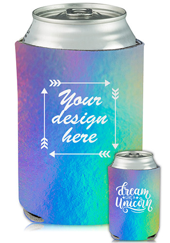 Customized Full Color Collapsible Can Cooler Iridescent Print