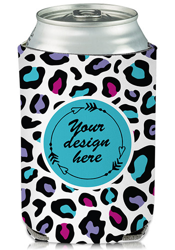 Promotional Collapsible Can Cooler Leopard Pop Print