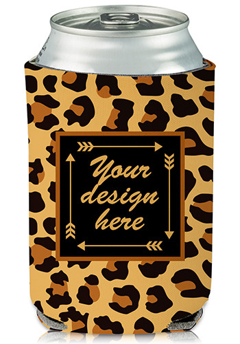 Personalized Collapsible Can Cooler Leopard Print