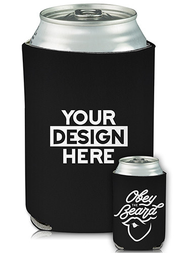 Customized Full Color Collapsible Can Cooler Obey The Beard Print