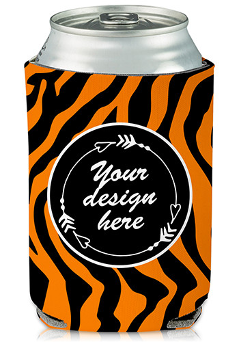 Bulk Collapsible Can Cooler Tiger Print