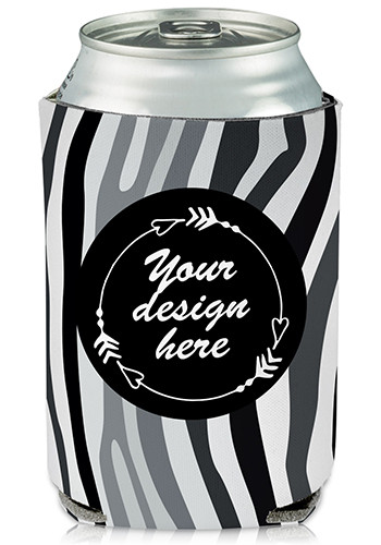 Promotional Full Color Collapsible Can Cooler Zebra Print