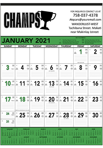 Green & Black Contractor's Memo Triumph Calendars | X11364