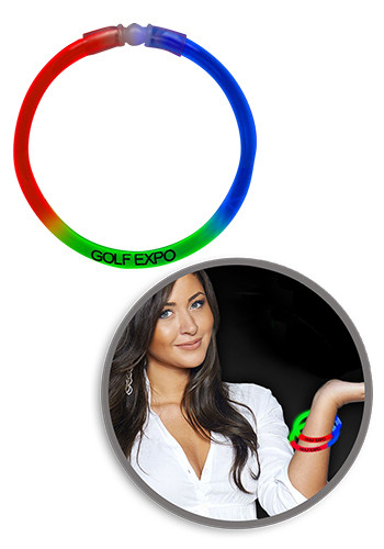 8 in. Red Green Blue Triple Color Superior Light Up Glow Bracelets | WCGBS610