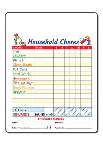 Household Chores 11in x 8.5in Magnets