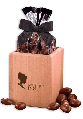 Milk Chocolate Covered Almonds in Hardwood Pen and Pencil Cup | MRBPC124