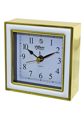 Wholesale Square Alarm Clocks (White Enamel/Gold)