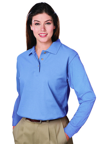 Blue Generation Ladies Pocketless Long Sleeve Polo Shirts | BGEN6207