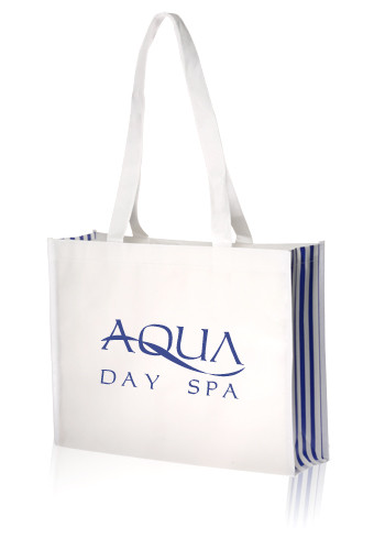 Laminated White with Blue Stripes Tote Bags