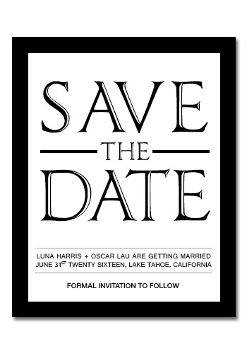 Save the Date - Black & White 3.75in x 3in Magnets