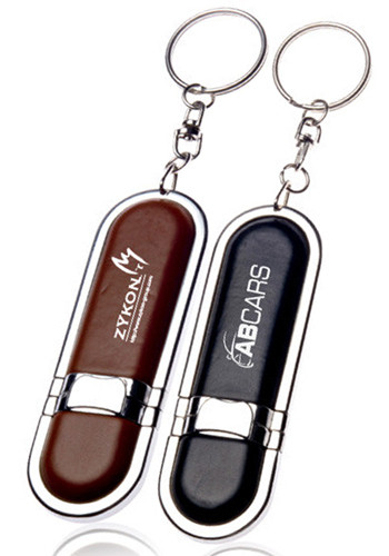 Custom Leather 32GB USB Flash Drives Keychains