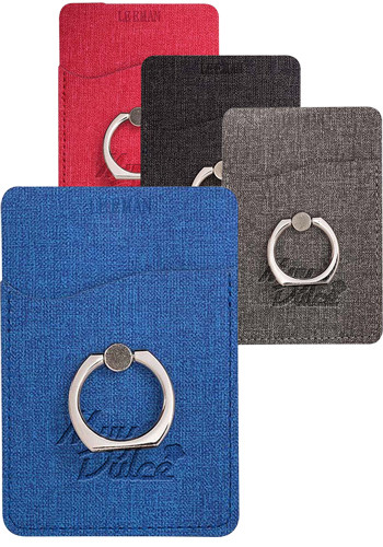 Personalized Leeman Rfid Phone Pockets With Metal Ring Phone Stand