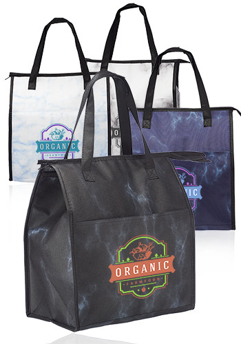 Promotional Marble Insulated Tote Bags with Pocket