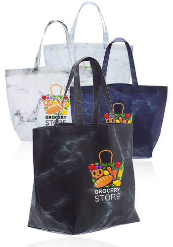 Custom Marble Non Woven Tote Bags