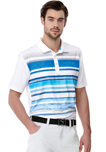 Men's Puma Washed Stripe Polo Pc | LEPA16815