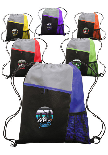 Mesh Pocket drawstring Backpacks