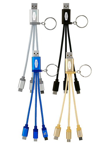 Metallic 3-In 1 Keychain Cable with Type C Usb | ASCPP4486