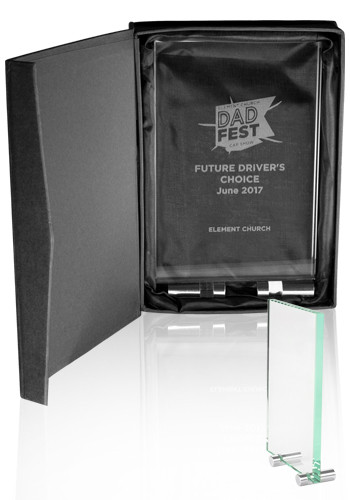 Custom Mid Size Chroma Glass Awards with Double Stand