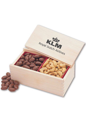 Milk Chocolate Covered Almonds & Jumbo Cashews in Wooden Collectors Box  | MRK120
