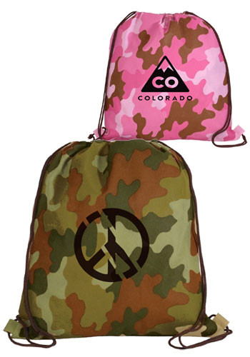 Promotional Non Woven Camo Drawstring Backpacks