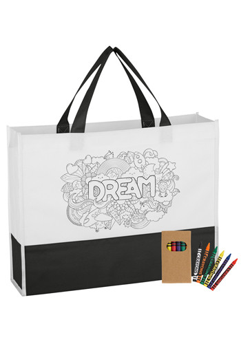 Non-Woven Prism Coloring Tote Bag with Crayons | X20183
