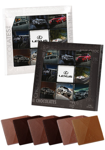 Personalized Delicious  Gallery Gift Box with 9pcs. Belgian Chocolate Squares