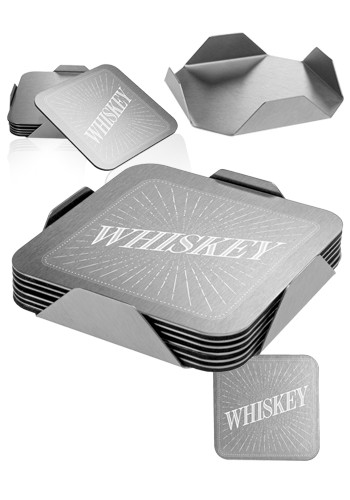 Custom Oshkosh 7 Piece Square Coaster Set with Stand