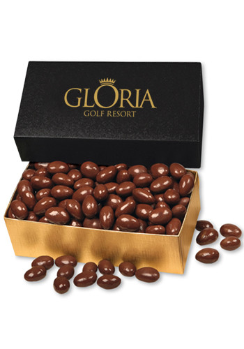 12 oz. Chocolate Covered Almonds in Black & Gold Gift Box | MRBKT124