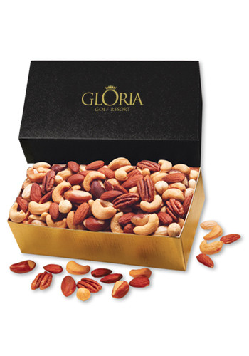 Custom 12 oz. Deluxe Mixed Nuts in Black & Gold Gift Box