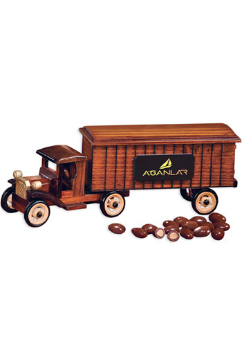 1930 Wooden Tractor-Trailer Truck with Chocolate Covered Almonds | MRTR2124