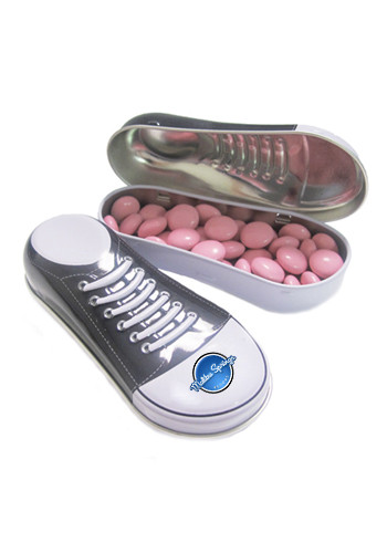 Personalized Chocolate Buttons in a Sneaker Tin
